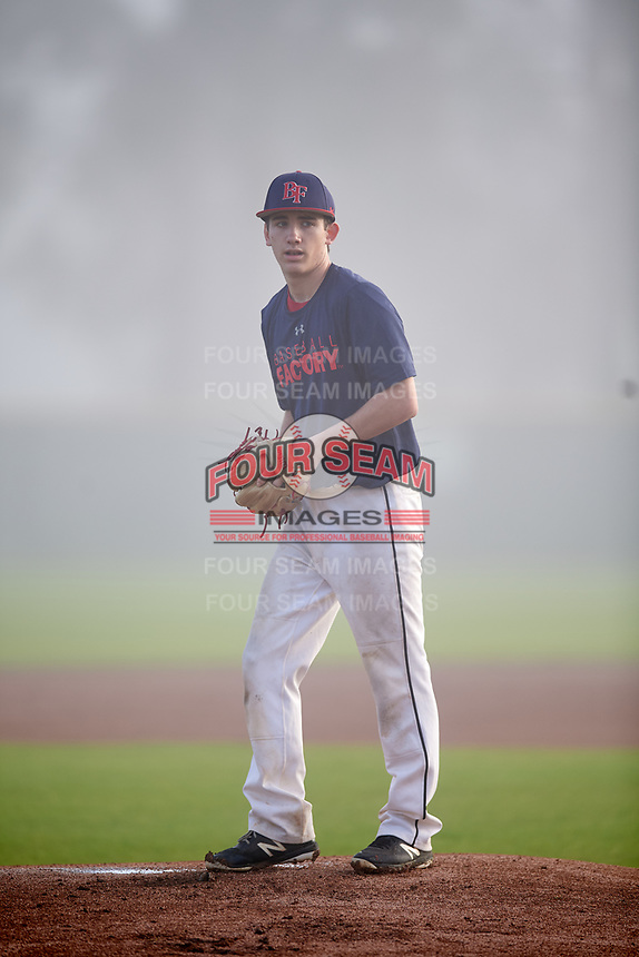 Michael Cunningham (57) of Royersford, Pennsylvania during the Baseball Factory Pirate City Christmas Camp & Tournament on December 30, 2018 at Pirate City in Bradenton, Florida. (Mike Janes/Four Seam Images)