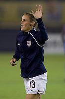 USA forward (13) Kristine Lilly during warmups. Brazil (BRA) defeated the United States (USA) 4-0 during the FIFA Women's World Cup China 2007 at Hangzhou Dragon Stadium in Hangzhou, China, on September 27, 2007. Brazil advances to the finals, while the United States will play in the third place game on September 30th.
