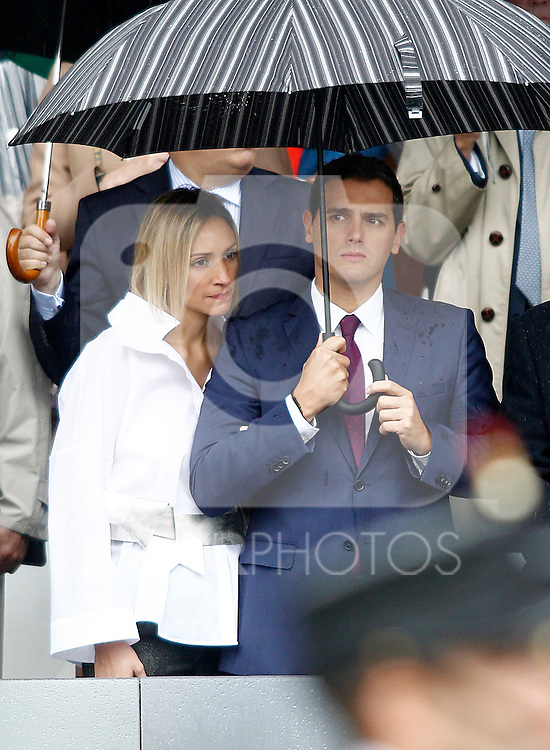 Alber Rivera, President of Citizens Party, Ciudadanos, and girlfriend Beatriz Tajuelo during the National Day military parade. October 12 ,2016. (ALTERPHOTOS/Acero)