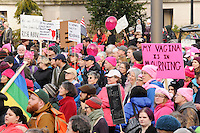 A crowd of over 10,000 people gathered to march and demonstrate in the Women's March in Olympia, Washington on January 21, 2017.