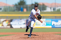 Peoria Javelinas starting pitcher Jeremy Walker (58), of the Atlanta Braves organization, follows through on his delivery during an Arizona Fall League game against the Scottsdale Scorpions at Peoria Sports Complex on October 18, 2018 in Peoria, Arizona. Scottsdale defeated Peoria 8-0. (Zachary Lucy/Four Seam Images)