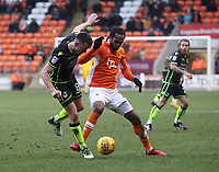 Blackpool's Nathan Delfouneso battles with Bristol Rovers' Ollie Clarke<br /> <br /> Photographer Mick Walker/CameraSport<br /> <br /> The EFL Sky Bet League One - Blackpool v Bristol Rovers - Saturday 13th January 2018 - Bloomfield Road - Blackpool<br /> <br /> World Copyright &copy; 2018 CameraSport. All rights reserved. 43 Linden Ave. Countesthorpe. Leicester. England. LE8 5PG - Tel: +44 (0) 116 277 4147 - admin@camerasport.com - www.camerasport.com