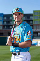 Lansing Lugnuts infielder Jordan Groshans (15) poses for a photo before a Midwest League game against the Beloit Snappers at Cooley Law School Stadium on May 4, 2019 in Lansing, Michigan. (Zachary Lucy/Four Seam Images)