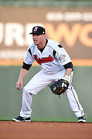 Nashville Sounds second baseman Pete Orr (11) during a game against the Omaha Storm Chasers on May 19, 2014 at Herschel Greer Stadium in Nashville, Tennessee.  Nashville defeated Omaha 5-4.  (Mike Janes/Four Seam Images)