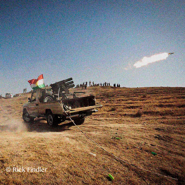 HAWEEYA, DIYALA PROVINCE, KURDISTAN.<br /> Kurdish fighting forces launch heavy artillary into Jalowla during clashes with the ISIS. The Haweeya forward operating base houses a combination of Kurdish army and special forces, who are currently battling ISIS militants for control of Jalowla, a city in Diyala Province, 25km down the road.