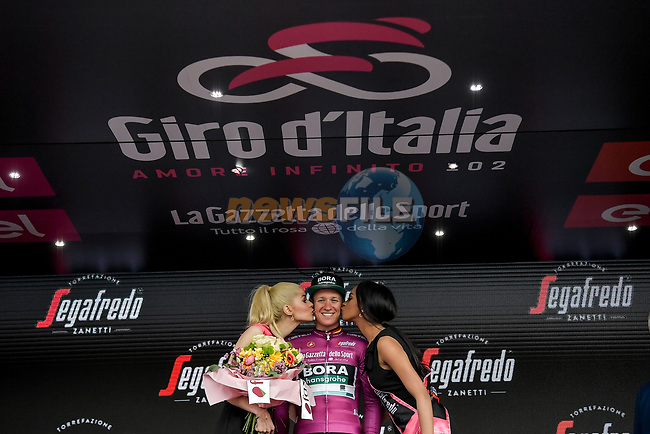 German Champion Pascal Ackermann (GER) Bora-Hansgrohe wins Stage 2 and takes over the points Maglia Ciclamino of the 2019 Giro d'Italia, running 205km from Bologna to Fucecchio, Italy. 12th May 2019<br /> Picture: Marco Alpozzi/LaPresse | Cyclefile<br /> <br /> All photos usage must carry mandatory copyright credit (© Cyclefile | Marco Alpozzi/LaPresse)