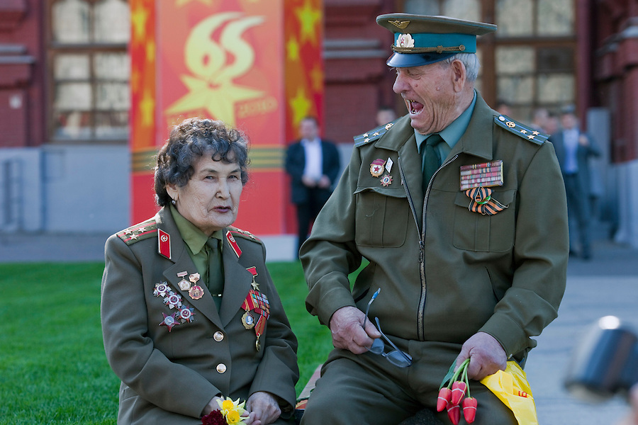 Moscow, Russia, 08/05/2010..Two war veterans near the Kremlin on the eve of the May 9 Victory Day celebrations.
