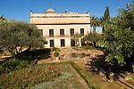 Historic palace building, Palacio de Villavicencio and gardens in the Alcazar, Jerez de la Frontera, Spain