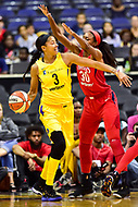 Washington, DC - June 15, 2018: Los Angeles Sparks forward Candace Parker (3) is guarded by Washington Mystics forward LaToya Sanders (30) during game between the Washington Mystics and Los Angeles Sparks at the Capital One Arena in Washington, DC. (Photo by Phil Peters/Media Images International)