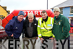 HOPING: Hoping to finish and getting an helping hand from the Garda Michael Murphy in the Ballybunion Mini Marathon on Saturday l-r: Toma?s Hanain, Dermot Dillane, Garda Mike murphjyt and Declan Ferris.................................. ....