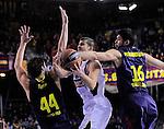 BARCELONA, SPAIN, BALONCESTO   29/11/2013<br /> Partido de Euroleague entre el Barcelona y el Fenerbahce  <br /> <br /> En imagen Bostjan Nachbar, Ante Tomic y  Kostas Papanikolaou. FOTOS PEP DALMAU