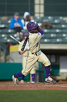 Jalen Jones (8) of the Western Carolina Catamounts follows through on his swing against the Saint Joseph's Hawks at TicketReturn.com Field at Pelicans Ballpark on February 23, 2020 in Myrtle Beach, South Carolina. The Hawks defeated the Catamounts 9-2. (Brian Westerholt/Four Seam Images)
