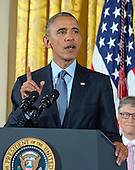 United States President Barack Obama makes remarks at a ceremony in the East Room of the White House in Washington, DC where he is to present the Presidential Medal of Freedom, the Nation's highest civilian honor, on Tuesday, November 22, 2016.<br /> Credit: Ron Sachs / CNP