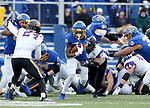 BROOKINGS, SD - NOVEMBER 16: Pierre Strong Jr. #20 of the South Dakota State Jackrabbits is brought down by Jevon Brekke #20 of the Northern Iowa Panthers during their game Saturday afternoon at Dana J. Dykhouse Stadium in Brookings, SD. (Photo by Dave Eggen/Inertia)