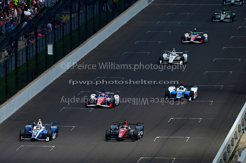 Verizon IndyCar Series<br /> Indianapolis 500 Race<br /> Indianapolis Motor Speedway, Indianapolis, IN USA<br /> Sunday 28 May 2017<br /> Max Chilton, Chip Ganassi Racing Teams Honda, Mikhail Aleshin, Schmidt Peterson Motorsports Honda, Carlos Munoz, A.J. Foyt Enterprises Chevrolet, Jay Howard, Schmidt Peterson Motorsports Honda, Helio Castroneves, Team Penske Chevrolet, Conor Daly, A.J. Foyt Enterprises Chevrolet, Juan Pablo Montoya, Team Penske Chevrolet<br /> World Copyright: F. Peirce Williams<br /> LAT Images