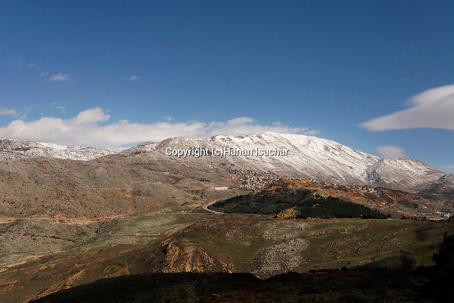 The Golan Heights. A view from Nimrod of Mount Hermon and Druze village Majdal Shams