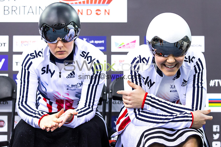 Picture by Alex Whitehead/SWpix.com - 02/03/2016 - Cycling - 2016 UCI Track Cycling World Championships, Day 1 - Lee Valley VeloPark, London, England - Great Britain's Katy Marchant (L) and Jessica Varnish (R) prepare to compete in the Women's Team Sprint qualification.