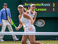 London, England, 6 th July, 2017, Tennis,  Wimbledon, Women's doubles: Kiki Bertens (NED) / Johanna Larsson (SWE) (R)<br /> Photo: Henk Koster/tennisimages.com