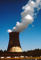 PGE TROJAN NUCLEAR POWER GENERATING PLANT<br /> Cooling Tower Releases Billowing Smoke<br /> First decommissioned pressurized water reactor.
