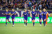 Orlando, Florida - Saturday, April 23, 2016: Orlando Pride team return to midfield after celebrating a second half goal to give them a 3-0 lead during an NWSL match between Orlando Pride and Houston Dash at the Orlando Citrus Bowl.