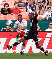 Rodney Wallace (22) of D.C. United tries to stop the cross of Dane Richards (19) of the New York Red Bulls at RFK Stadium in Washington, DC.  The New York Red Bulls defeated D.CC United, 2-0.