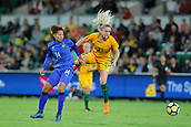 26th March 2018, nib Stadium, Perth, Australia; Womens International football friendly, Australia Women versus Thailand Women; Ellie Carpenter of the Matildas wins the header against Saowaluk Pengngam of Thailand