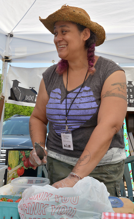 Market Manager, Christine Moss, seen on the job at the Saugerties Farmer's Market on Main Street in the Village of Saugerties, NY, on Saturday, June 10, 2017. Photo by Jim Peppler. Copyright/Jim Peppler-2017.