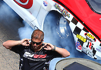 Jun 18, 2016; Bristol, TN, USA; Bryan Lambert during NHRA pro mod qualifying for the Thunder Valley Nationals at Bristol Dragway. Mandatory Credit: Mark J. Rebilas-USA TODAY Sports