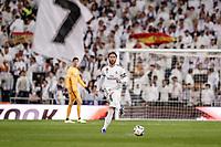 23rd November 2019; Estadio Santiago Bernabeu, Madrid, Spain; La Liga Football, Real Madrid versus Real Sociedad; Sergio Ramos (Real Madrid)  plays the ball along the wing - Editorial Use