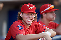 Williamsport Crosscutters Alec Bohm (5) in the dugout before a game against the Mahoning Valley Scrappers on August 28, 2018 at BB&T Ballpark in Williamsport, Pennsylvania.  Williamsport defeated Mahoning Valley 8-0.  (Mike Janes/Four Seam Images)