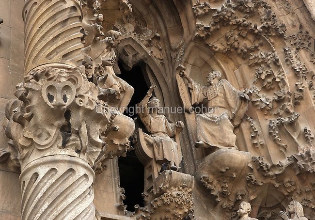 Jesus proclaiming himself son of God, Faith hallway, Nativity façade, La Sagrada Familia, Barcelona, Catalonia, Spain, Roman Catholic basilica, built by Antoni Gaudí (Reus 1852 ? Barcelona 1926) from 1883 to his death. Still incomplete. Picture by Manuel Cohen