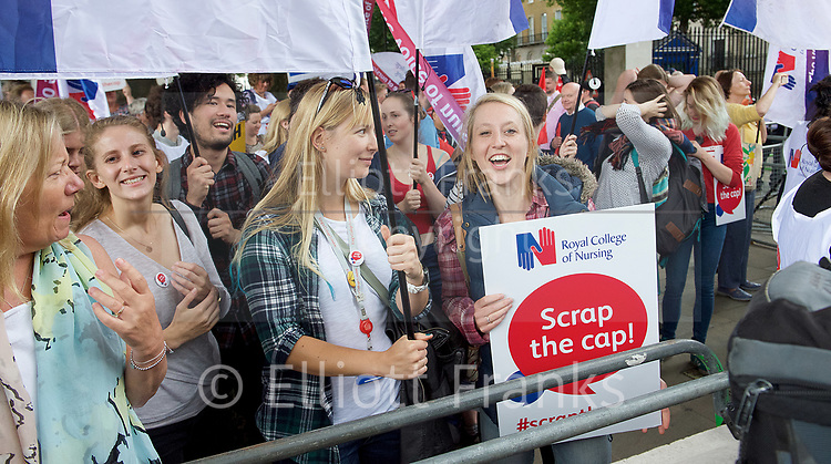 NHS, Nurses and other health workers demonstration in Whitehall, Westminster, London, Great Britain <br /> 27th July 207 <br /> <br /> Arranged by the Royal College of Nursing.<br /> <br /> <br /> Photograph by Elliott Franks <br /> Image licensed to Elliott Franks Photography Services