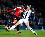 Anthony Martial of Manchester United tackled by James Chester of West Bromwich Albion - English Premier League - West Bromwich Albion vs Manchester Utd - The Hawthorns Stadium - West Bromwich - England - 6th March 2016 - Picture Simon Bellis/Sportimage