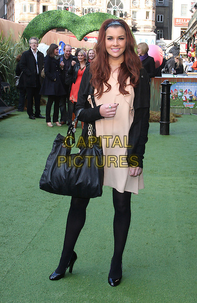 IMOGEN THOMAS .UK Premiere of 'Gnomeo and Juliet' at the Odeon cinema, Leicester Square, London, England, UK, .January 30th 2011..& arrivals full length black dress shoes bag beige jacket peach tights hairband hair band .CAP/ROS.©Steve Ross/Capital Pictures
