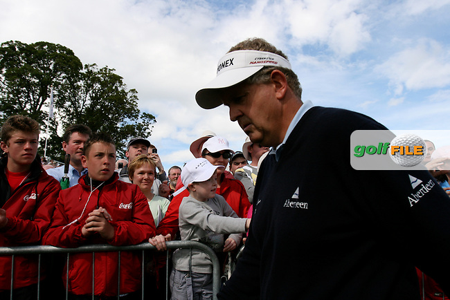 Day 4 of the Smurfit Kappa European Open in the K Club in Straffin Co Kildare Ireland. 8/7/07.Colin Montgomerie walks off the 18th Green with a score of 11 under during the final round of the Smurfit Kappa European Open...Photo: Newsfile/Fran Caffrey.