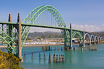 Newport, OR<br /> Yaquina Bay Bridge (1934) on the mouth of the Yaquina River at Newport, Oregon