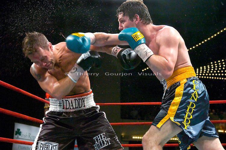&quot;Ireland's&quot; John Duddy on the attack against Anthony &quot;The Bullet&quot; Bonsante during their  IBA World &amp; WBC Continental Americas Middleweight Championship at the Garden in New York City on 03.16.07.<br />