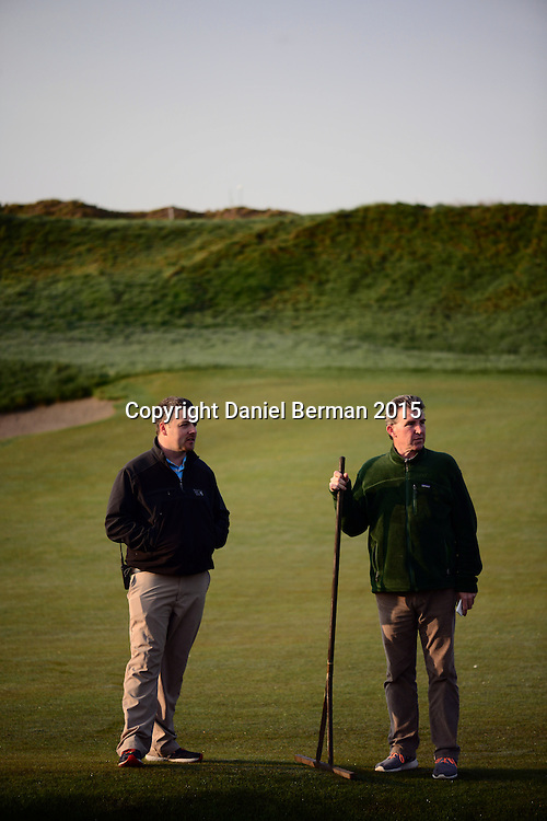 Josh Lewis, Superintendent, and Eric Johnson, Director of Egronomy, at Chambers Bay Golf Course in University Place, Washington, which will host the 2015 U.S. Open in June 2015. Photo by Daniel Berman for Golf Course Management Magazine.