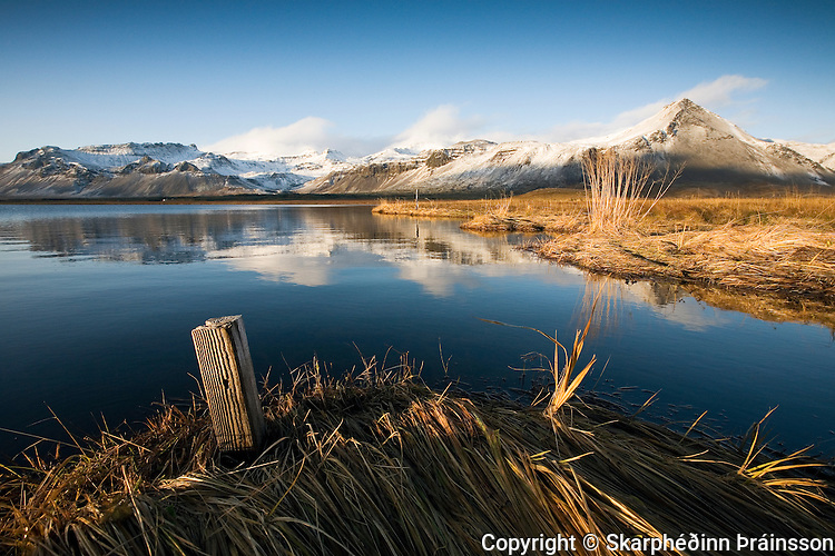 Fall and first snow in mountains of Snæfellsnes, west Iceland