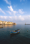 Crete, Greece, Chania, Khania, harbor, seawall, lighthouse, Venetian architecture, classic Mediterranean town on the Northwest coast of Crete,.