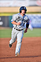 Biloxi Shuckers left fielder Blake Allemand (3) runs to third base during a game against the Tennessee Smokies at Smokies Stadium on May 26, 2017 in Kodak, Tennessee. The Smokies defeated the Shuckers 3-2. (Tony Farlow/Four Seam Images)