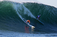 Half Moon Bay - Ca, Sunday, January 20, 2013: Zach Wormhoudt and Peter Mel compete during the 2013 Mavericks Invitational..