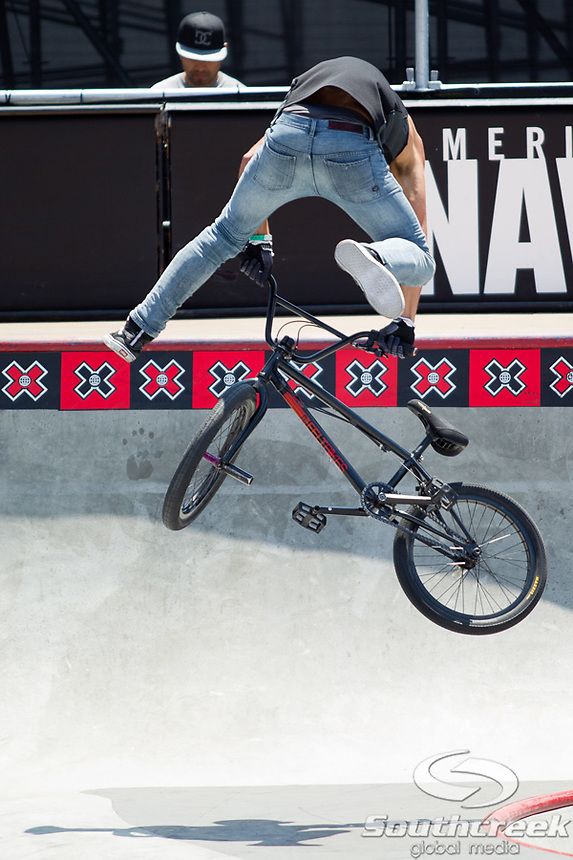 Scotty Cranmer competes in the BMX Freestyle Park Elimination at Event Deck at L.A. Live in Los Angeles, California. Cranmer finished 2nd in the elimination round.