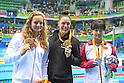 (L-R) Oliwia Jablonska (POL), Sophie Pascoe (NZL), Yi Chen (CHN), <br /> SEPTEMBER 12, 2016 - Swimming : <br /> Women's 100m Butterfly S10 Medal Ceremony <br /> at Olympic Aquatics Stadium<br /> during the Rio 2016 Paralympic Games in Rio de Janeiro, Brazil.<br /> (Photo by AFLO SPORT)