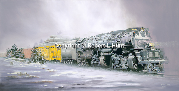 "Union Pacific ""Big Boy"" steam locomotive hauling a heavy freight train crests a western mountain pass surrounded by snow and fog. Oil on canvas, 19"" x 36""."