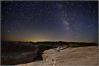 After scouting out this location and double-checking the Milky Way's position in the overnight hours, I made my way to Pedernales Falls State Park in the Texas Hill Country to capture this amazing landscape in a photograph. I took several very long exposures of the foreground, to get the lighting right, then took several exposures of the Milky Way. Back at home, I blended the two best images together and produced what I saw that night.<br />