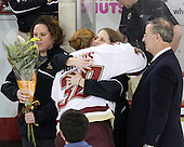 Courtney Kennedy (BC - Assistant Coach), Molly Schaus (BC - 30), Katie King (BC - Head Coach), Tom Peters - The Boston College Eagles and the visiting University of New Hampshire Wildcats played to a scoreless tie in BC's senior game on Saturday, February 19, 2011, at Conte Forum in Chestnut Hill, Massachusetts.