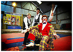 Trapeese artists, Niko and Nino pictured here with Otto the Clown at the Fossetts Circus's base in Lucan, Co. Dublin. Pic. Robbie Reynolds.