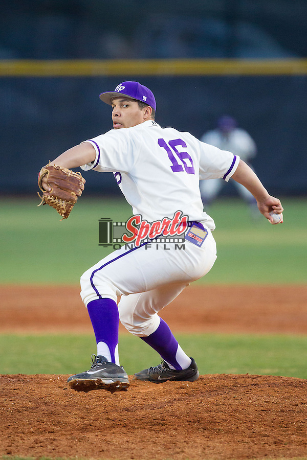High Point Panthers starting pitcher Andre Scrubb (16) in action against the Coastal Carolina Chanticleers at Willard Stadium on March 15, 2014 in High Point, North Carolina.  The Panthers defeated the Chanticleers 11-8 in game two of a double-header.  (Brian Westerholt/Sports On Film)