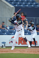 Cristian Pache (15) of the Gwinnett Stripers at bat against the Scranton/Wilkes-Barre RailRiders at Coolray Field on August 18, 2019 in Lawrenceville, Georgia. The RailRiders defeated the Stripers 9-3. (Brian Westerholt/Four Seam Images)